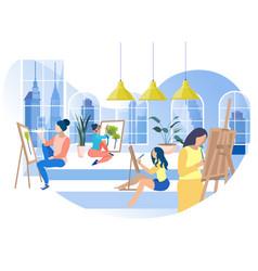 Art coworking office flat cartoon banner vector