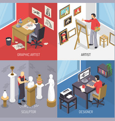 Artists isometric design concept vector