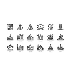 asian cities landmarks icons set 2 vector image