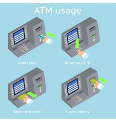 ATM terminal usage Payment with credit card take vector