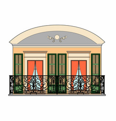 Balcony with two windows vector