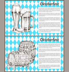Beer barrel and glass vintage hand drawn poster vector