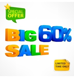 Big sale inscription 60 vector