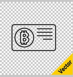 black line credit card with bitcoin icon isolated vector image