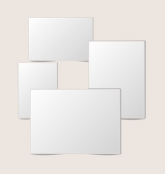 blank white foto frame collection with shadow vector image