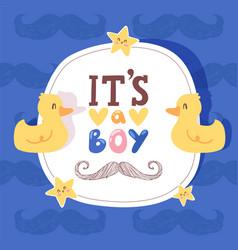 boy bashower invitation birthday greeting card vector image