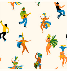 Brazil carnival seamless pattern with funny vector