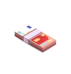bright ten euro banknotes in stack in isometric vector image