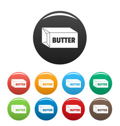Butter icons set color vector
