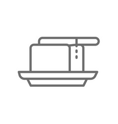 butter in butterdish with knife line icon vector image