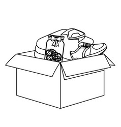 Carton box with diferents things inside black and vector