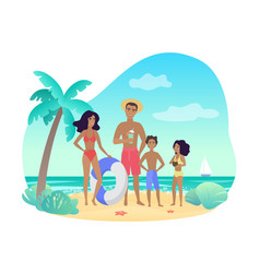 cheerful parents and kids in swimwear standing vector image
