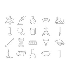 chemistry tools icon set outline style vector image