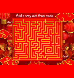 children labyrinth kid maze with chinese dragon vector image
