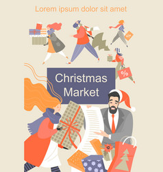 christmas market flyer funny cartoon people vector image