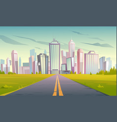 cityscape with highway road and town vector image