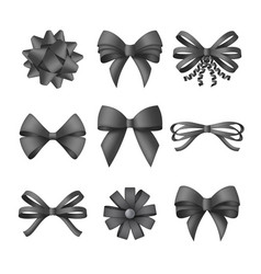 collection decorative black bows funeral vector image
