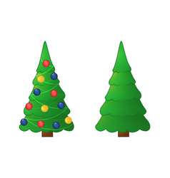 collection of christmas trees green christmas vector image