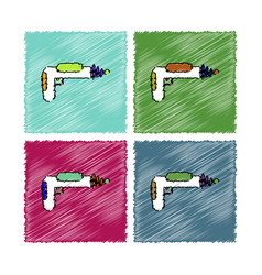 Collection of flat shading style icons toy gun vector