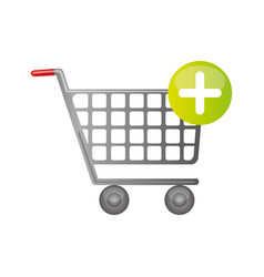 color silhouette with shopping cart and plus sign vector image