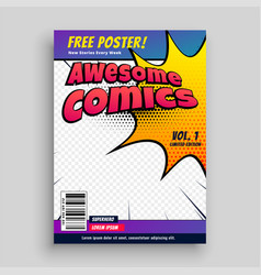 comic book cover magazine design template vector image