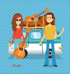 Couple hippies playing guitar lifestyle characters vector