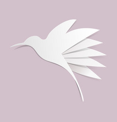 Cut paper hummingbird on violet background vector