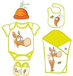 Cute Baby Layette with cute horse and carrot vector image