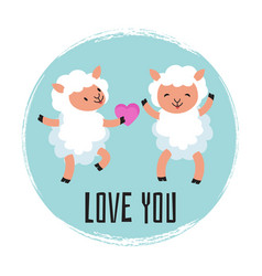 cute cartoon sheeps in love vector image