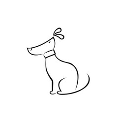 cute dog silhouette vector image