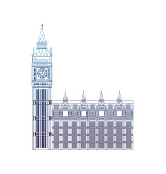 Degraded line london clock tower architecture vector