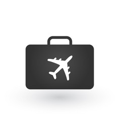 design of briefcase with airplane icon isolated vector image