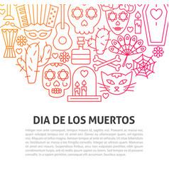 Dia de los muertos line concept vector