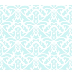Elaborate white vintage seamless pattern on blue vector image
