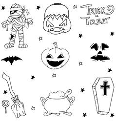 Element doodle Halloween art vector