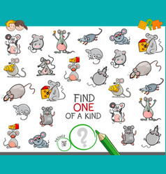 Find one a kind with mouse characters vector