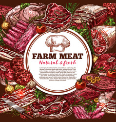 fresh meat poster vector image