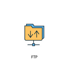 ftp concept 2 colored line icon simple yellow and vector image