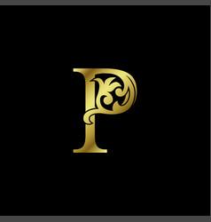 Gold luxury letter p ornament logo alphabet vector