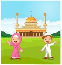Happy cartoon Muslim kids waving hand in front of vector