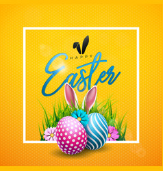Happy easter with colorful flower and vector