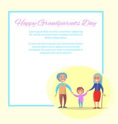 Happy grandparents day senior couple with grandson vector