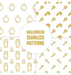 Happy halloween set of seamless patterns with vector