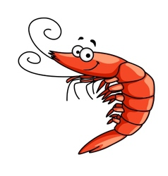 Happy prawn or shrimp with curly feelers vector