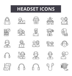 Headset line icons signs set outline vector