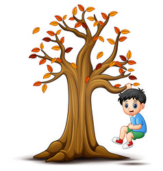 kids playing with autumn tree vector image