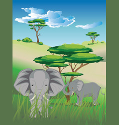 Landscape with elephant vector