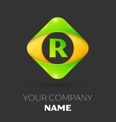 Letter r logo symbol in colorful rhombus vector