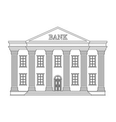 line bank building icon bank isolated on vector image