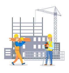 Male builder in uniform and hard hat communicating vector
